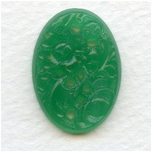 ^Vintage Etched Flowers Jade Green Glass Stone 25x18mm