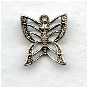 Filigree Butterfly Charms Oxidized Silver 11mm (6)
