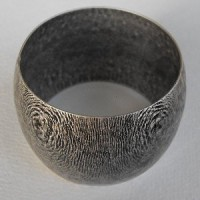 ^Wide Dome Seamless Bangle with Texture Oxidized Silver