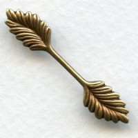 Double Leaf Bail Stamping Oxidized Brass 35mm