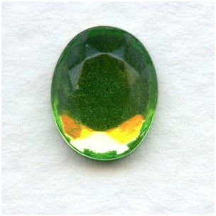 Peridot Glass Flat Back Stone 10x8mm Faceted Top