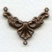 Necklace Connectors Rococo Style Oxidized Copper (6)