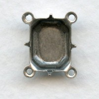 Octagon Settings with Four Loops 10x8mm Oxidized Silver
