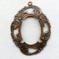 ^Elaborate Floral 25x18mm Setting Oxidized Copper