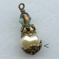 Round Filigree Victorian Style Bead Caps Oxidized Brass