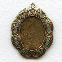 Filigree Frame Pendant Setting 18x13mm Oxidized Brass