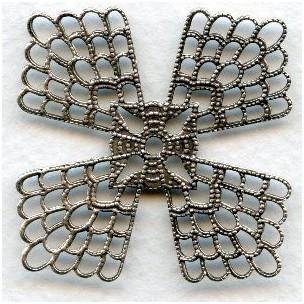 Elegant Flat Setting Filigrees 38mm Oxidized Silver