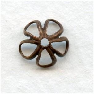 Retro Flower Power Bead Caps 7.5mm Oxidized Copper (24)