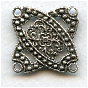 Connector Square 4 Loops Oxidized Silver 29mm