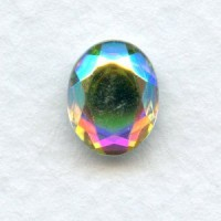 Crystal AB Flat Back Faceted Top 10x8mm Jewelry Stones