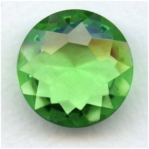 Peridot Glass Round 25mm Unfoiled Jewelry Stone (1)