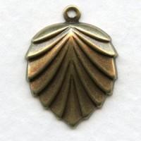 Shell or Fan Shape with Loop Oxidized Brass