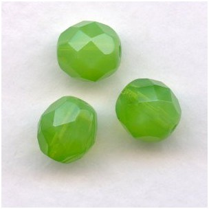 Green Opal Fire Polished Round Faceted Beads 8mm (24)