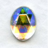 Crystal AB Flat Back Faceted Top 8x6mm Jewelry Stones