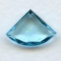 Aquamarine Glass Fan Shape Stones 18x13mm