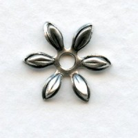 Cut Out Detail Petals Flower Bead Caps Oxidized Silver