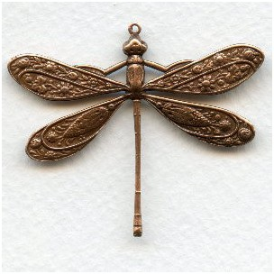 Victorian Style Dragonfly Oxidized Copper 41mm