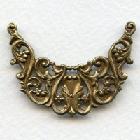 Fabulous Openwork Stamping Tiara Shape Oxidized Brass