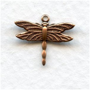 Tiny Dragonfly Pendants 16x15mm Oxidized Copper (12)