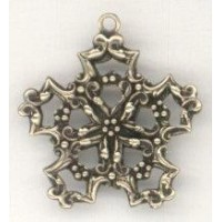 ^Snowflake Shaped Filigree Stampings Loop Oxidized Brass