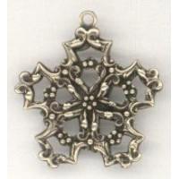 Snowflake Shaped Filigree Stampings Loop Oxidized Brass