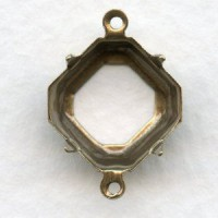 Square Octagon 12mm Setting Connectors Oxidized Brass
