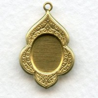 Floral Border Raw Brass 10x8mm Pendant Settings