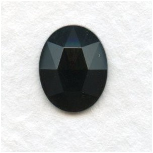 Jet Oval Flat Backs Faceted Tops 10x8mm