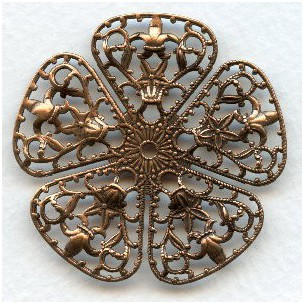 Filigree Flower Shape 45mm Oxidized Copper