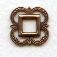 Small Openwork Fancy Square Oxidized Copper