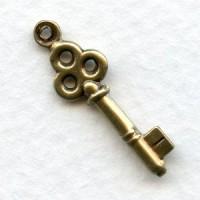 Steampunk Inspired Key Oxidized Brass 24mm (6)