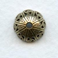 Elegant Style Filigree Bead Caps Oxidized Brass (6)