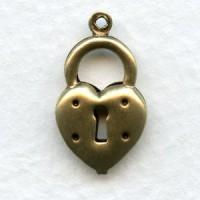 Steampunk Inspired Heart Lock Charm Oxidized Brass (6)