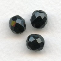 Jet Glass Fire Polished Round Faceted Beads 8mm