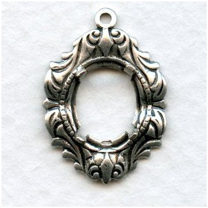 Fancy Flowing Design 10x8mm Settings Oxidized Silver (2)
