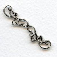 Elegant Filigree Detail Connector Oxidized Silver