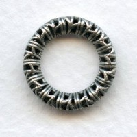 Filigree Ring 17mm Link Connectors Oxidized Silver (3)