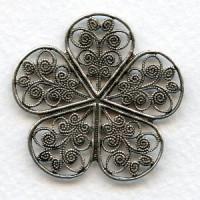 Filigree Flower Ornamentations Oxidized Silver 36mm