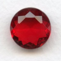 Ruby Glass Unfoiled Jewelry Stone Round 18mm