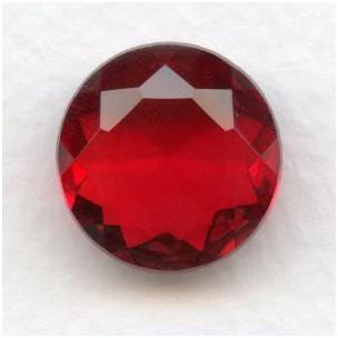 Ruby Glass Unfoiled Jewelry Stone Round 18mm (1)