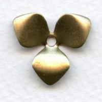 Three Petal Flower Shapes Oxidized Brass (12)