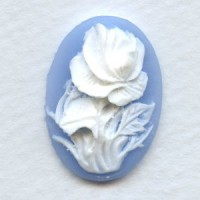 Cameos White Rose on Blue Background 25x18mm