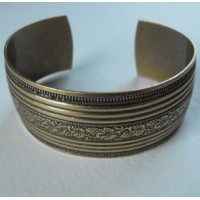Floral Embossed Oxidized Brass Cuff 25mm