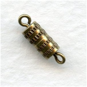 Barrel Clasps Oxidized Brass 14mm (6)