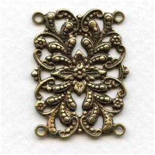 Floral Connector 4 Loop Bracelet Links Oxidized Brass
