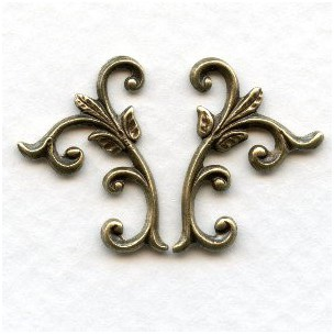 Leafy Sprigs Right and Left Flourishes Oxidized Brass (1 set)
