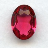 Rose Glass Oval Unfoiled Jewelry Stones 14x10mm