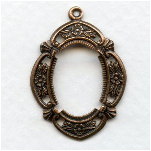 Fancy Floral Setting 18x13mm Oxidized Copper