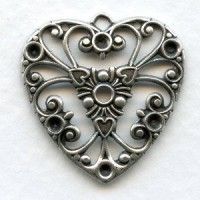 Heart Pendant for Rhinestones Oxidized Silver 27mm