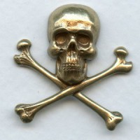 Skull and Crossbones 30x31mm Oxidized Brass (1)